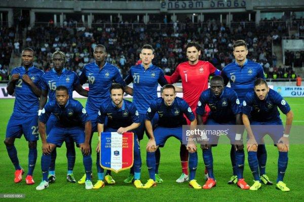 Photo protocole d'avant match Georgie France du 06/09/2013