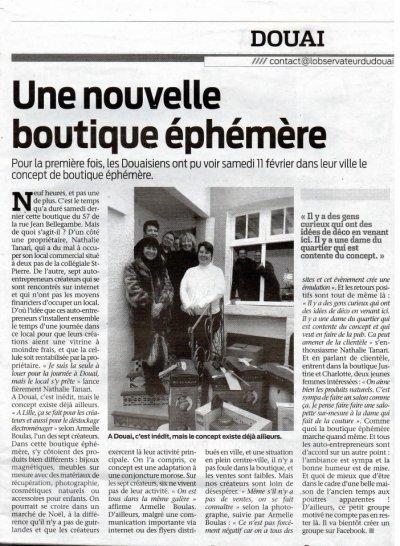 L'article paru dans le journal concernant la boutique éphémère