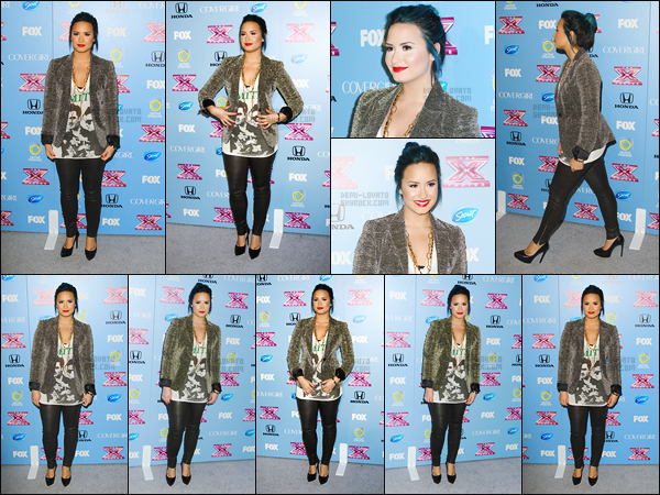 . 04.11.13 —  La belle Demi Lovato  a été photographiée alors qu'elle assistait au « X Factor Party » à Los Angeles !   .