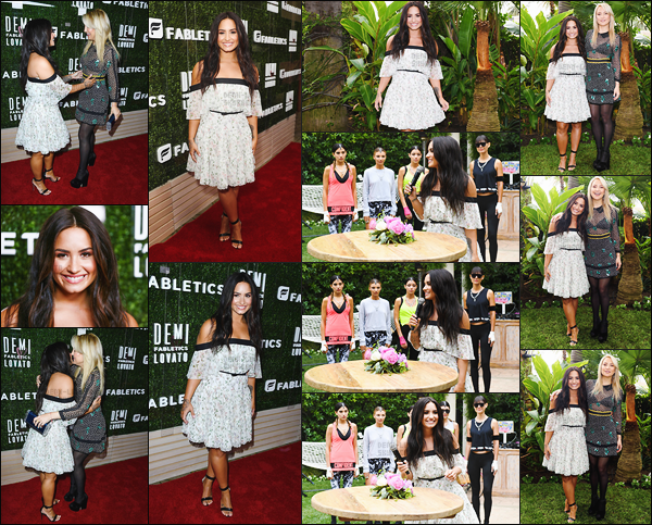 . 10.05.17 — Demi Lovato était présente au lancement pour sa marque de vêtements en partenariat avec Fabletics !   Comme vous pouvez le voir la chanteuse nous à fait une surprise en sortant sa propre ligne de vêtement. Demi est vraiment sublime sur ces photos. .