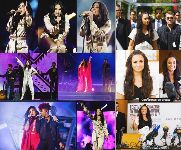 - - 19.05.2017- : Demi Lovato était présente lors du festival « Festival Mawazine Rythmes » dans la ville de Rabat, Maroc!    Le même jour, elle a passé une conférence de presse mais peu de photos disponible. J'aime sa coupe de cheveux avec le chignon c'est trop mignon. -