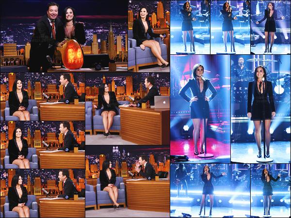 . 30.10.15 —  Demi Lovato s'était rendu sur le plateau télé « The Tonight Show » avec Jimmy Fallon à New York!  Elle à chanté « Confident » ou elle était en pleine promo et un live toujours au top. Sa tenue est sublime et make-up aussi est top. .