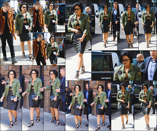 - - 22.03.2016- : Demi Lovato a été vue alors qu'elle sortait de son hôtel se trouvant dans la grande ville de New-York !     Miss Lovato allait avec son ami Nick Jonas à un événement qui fêtait les 15 ans des voitures Honda Civic. Je suis absolument fan de sa tenue donc top. -