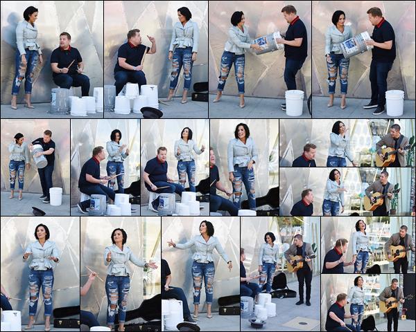 - - 28.04.2016- : Demi Lovato était à Melrose Avenue en pleine émission pour le « Carpool Karaoké  » de James Corden !    Demi et Nick Jonas ont chanté en pleine rue quelques de leurs titres comme « Confident » ou encore « Jealous » accompagnés par James. J'ai adoré.  -