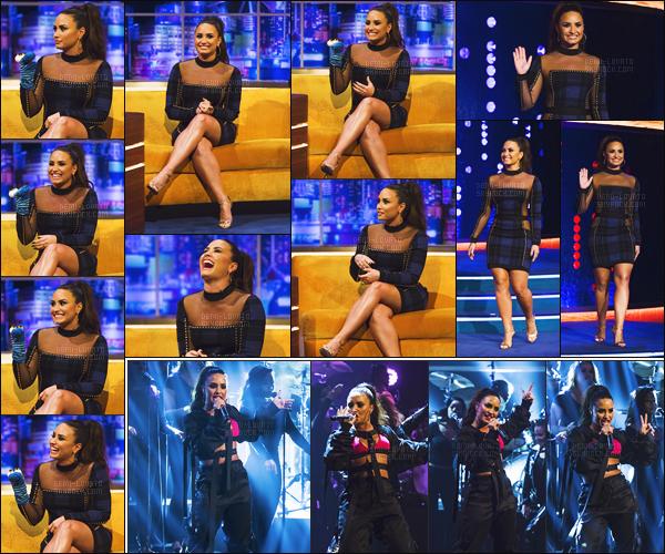 - -• 27.09.17- : Demi Lovato était présente sur le plateau du show - « The Jonathan Ross Show  » se situant à Londres, UK.    C'est toute souriante que nous retrouvons l'interprète de sorry not sorry pour cette émission. J'aime sa tenue et de même pour sa coiffure donc un top ! -