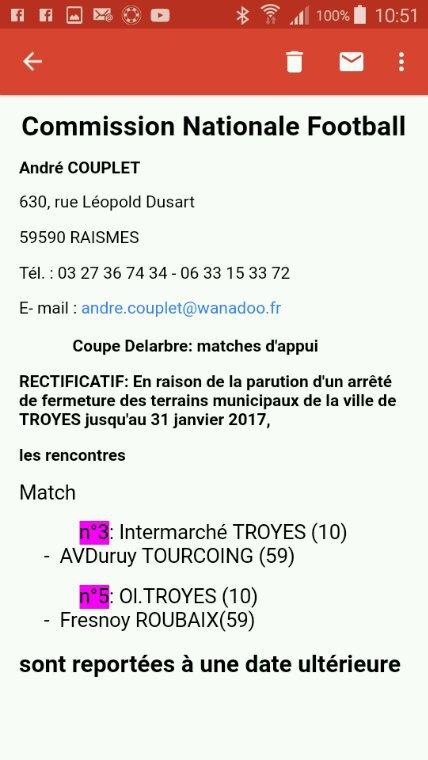 Match de coupe de France du 22/ 01 reporté ultérieurement
