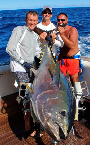 Information ---------- Today ,Grander, Tracy Melton's boat caught a very nice bluefin tuna of 700lbs. When we say they are arrived, this is the proof. We have some last dates available end of september, end of season 2013 will be very hot... Photo of the bigeye caught on Brasilia 2 days ago