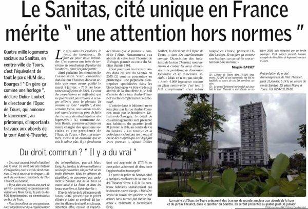 Article sur le quartier du Sanitas, Tours.