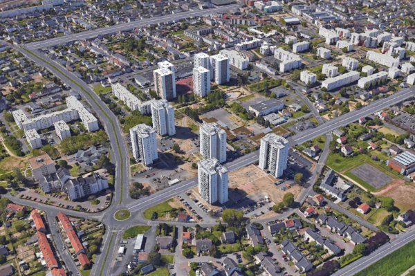 Vue aérienne de la Cité de la Rabaterie, St Pierre des Corps.