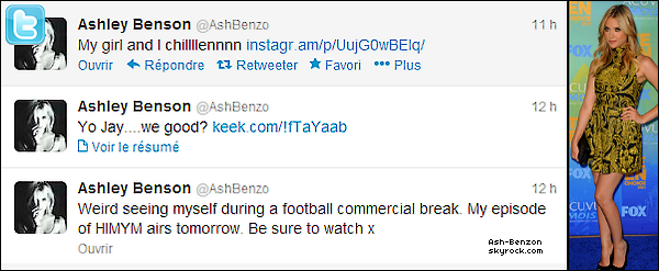 . 20/01/13 :Ashley à postée ces tweets avec des photos et vidéo sur son compte Twitter. + La vidéo de la soirée que Ashley à postée avec le tweet est ici  : Clique ici pour y accéder !  .