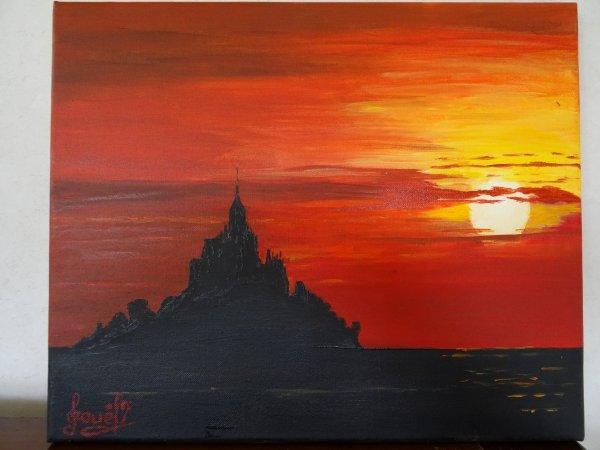 Le mont St Michel à la tombée de la nuit