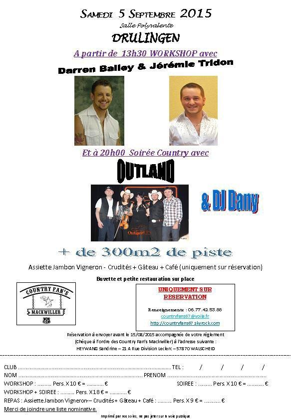 N'oubliez pas la soirée du 5 septembre a Drilligen , une soirée qui sera fort sympathique