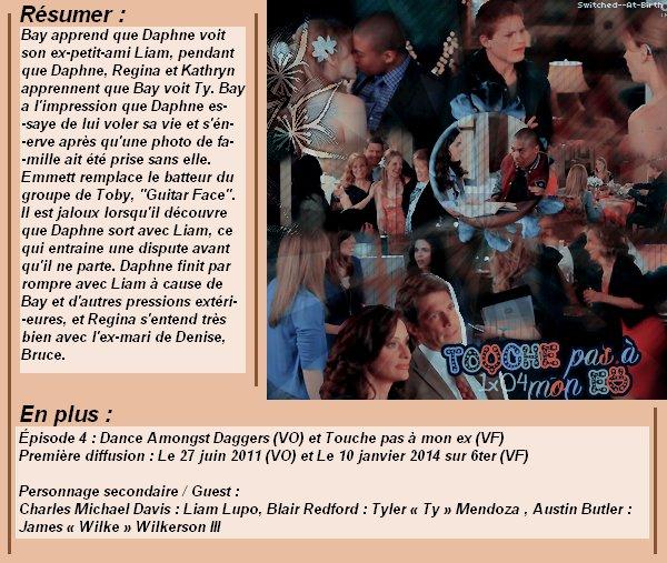 1x04 : Touche pas à mon ex Clik sur le mots : Créa   l Déco l Texte l Recherche de liens : Promo & Episode en entier l