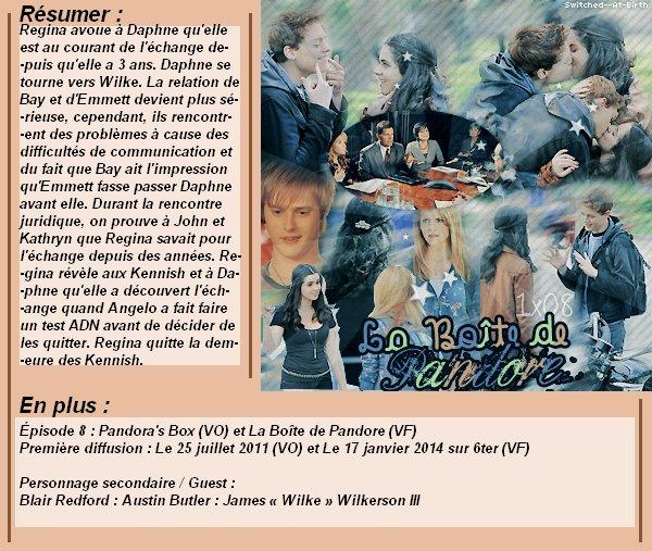 1x08 : La Boîte de Pandore Clik sur le mots : Créa   l Déco l Texte l Recherche de liens : Promo & Episode en entier l