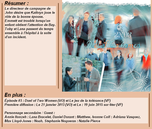 2x03 : Le jeu de la tolérance Clik sur le mots : Créa   l Déco l Texte l Recherche de liens : Promo & Episode en entier l