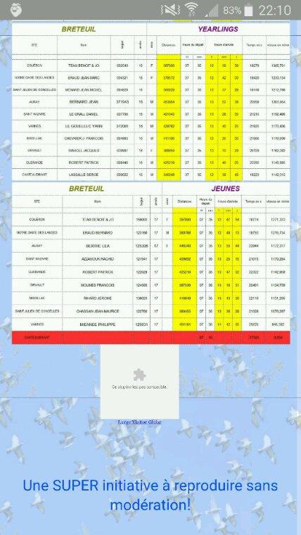 Résultats provisoires breteuil du 15 / 07 / 17