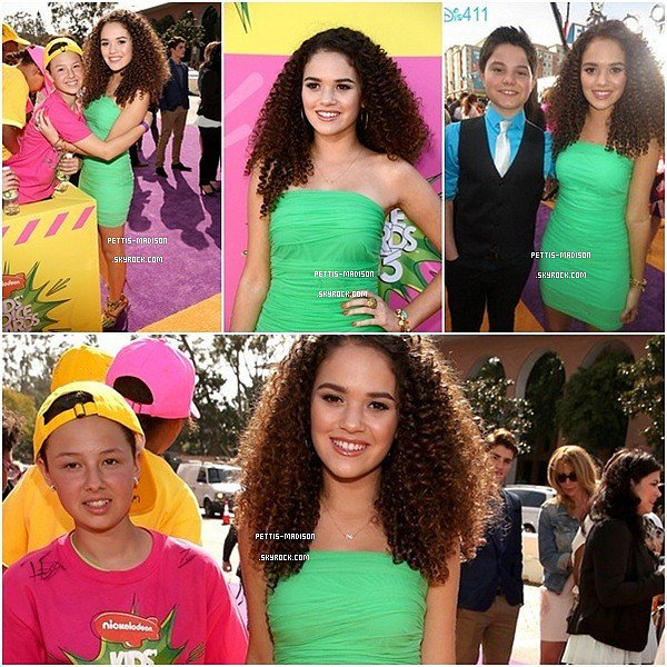 . 23 /03 /13 . Madison Pettis  était présente lors de la cérémonie des Kids Choice Awards 2013 au USC Galen Center à Los Angeles.  .