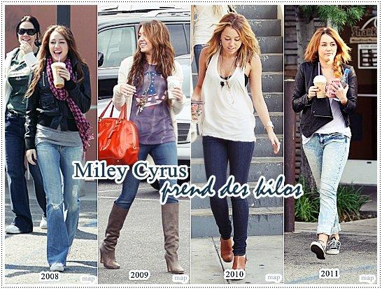 Depuis quelques jours , Miley est photographié mais aujourd'hui on parle de son poid sur Internet. Miley a pris du poid depuis les années, elle boit beaucoup de boissons glacés et mange de la mal bouffe!En témoignent des clichés qui datent du samedi 5 février, sur lesquels l'héroïne de la série Hannah Montana apparaît avec de bonnes joues!