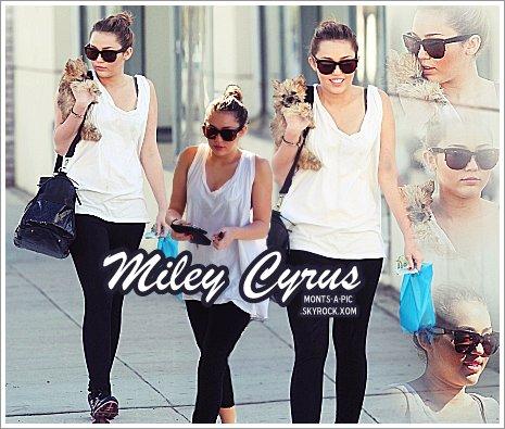 Miley à Toluka Lake avec son chien , encore dans ces bras!