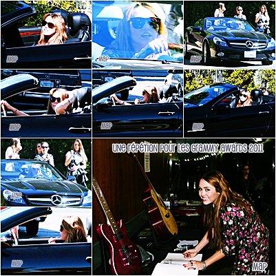 11.Fév.11  : Miley à LA conduissant l'auto à sa mère et en répétition pour les Grammy Award's sans son chien (joke!)