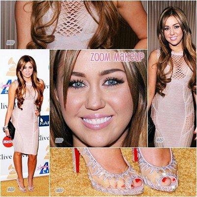 12.Fév.11  : Miley à la fête des pré-Grammys organisée par Clive Davis,Tenu OMG OSER,sont-ils refait ces seins? + vidéos