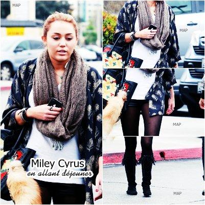 15.Fév.11:Miley Cyrus était de sortie avec sa mère hier pour déjeuner chez Bea Bea's à Burbank.