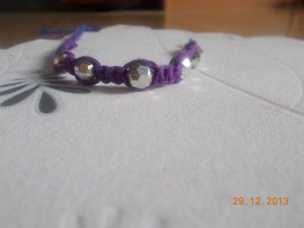 Bracelet Violet à Perle argenter