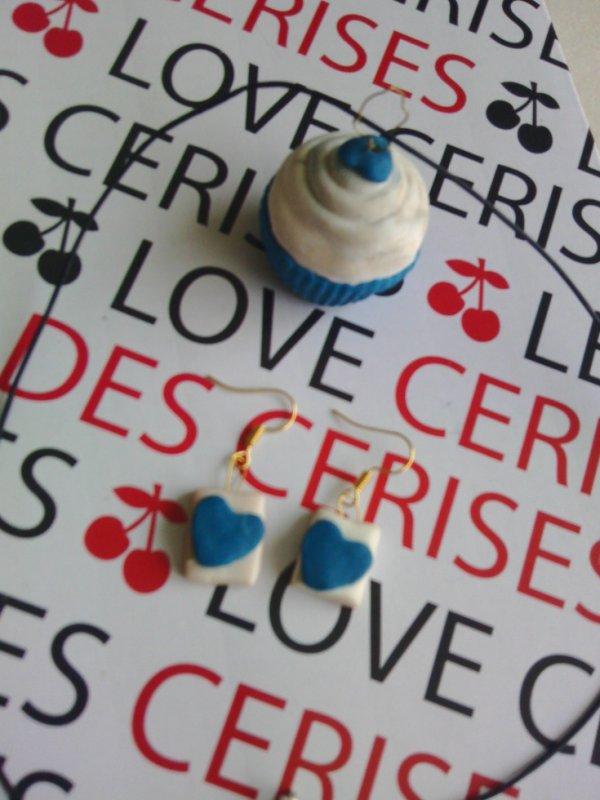 cup cake bleu boucle d'orreille