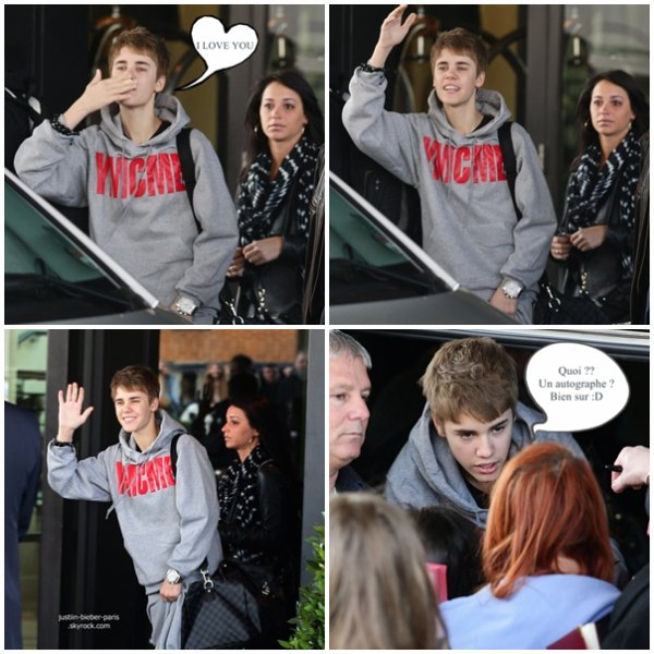 .  04.03 : Justin quittant son hôtel à Birmingham ( tout souriant :D ) .