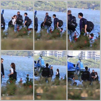 photos du tournage de Breaking Dawn  et Rob et Kris quittant leur hôtel en direction de Paraty; Le tournage reprend ce soir au bord de l'eau...
