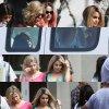 """6mars: Selena toujours sur le set de """"Spring Breakers"""". Et encore une fois avec sa robe de nuit Garfield puis ensuite en tenue noir décontractée. + photos avec des fans Ton avis?"""