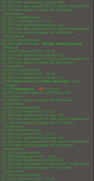 La team xp guilde, quelques up guildes ainsi que quelques achats et ventes