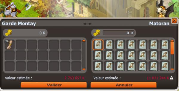 XP guilde, achat panoplie, échange dragodindes