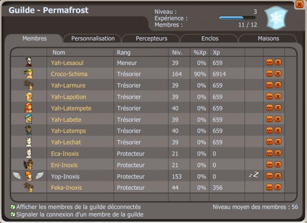 Création de la guilde Permafrost et Difficulté à XP.