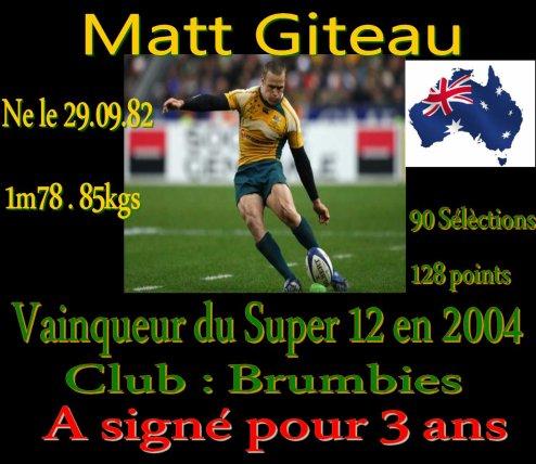 Matt Giteau l'ouvreur  Australien a signé