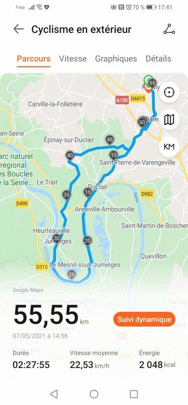 1ère balade du mois de mai : 55 km
