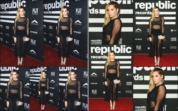 10.02.19 ─ La ravissante Ashley M Tisdale était présente lors du « Republic Grammys After Party » à Los Angeles.Une jolie robe transparente et notre Ashley est vraiment magnifique, comme à son habitude. Vraiment fan de sa tenue et de sa mise en beauté ! Un top.