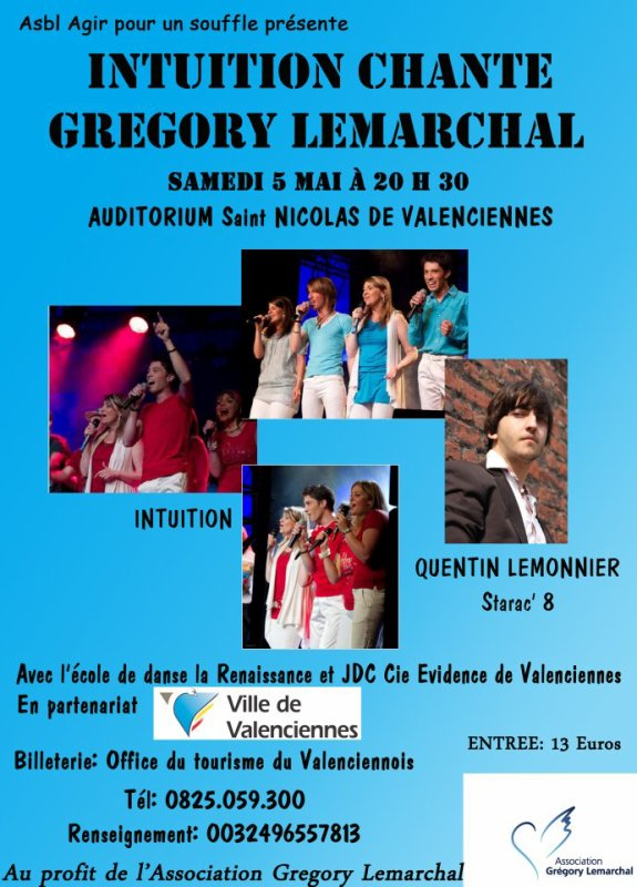 SAMEDI 5 MAI VALENCIENNES INTUITION CHANTE GREGORY LEMARCHAL