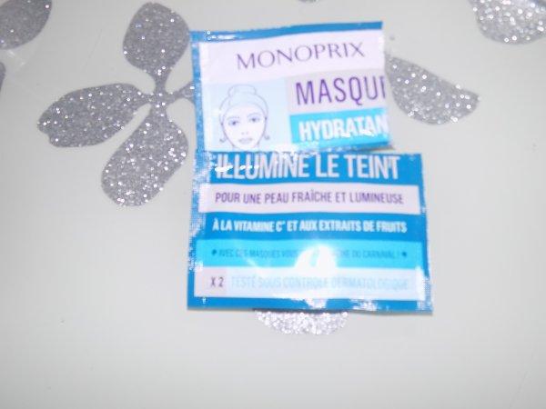 Les masques hydratants de chez Monoprix