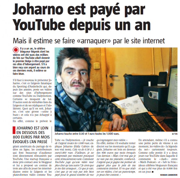 joharno est payé par youtube depuis 1 an