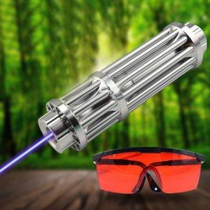 信頼性が高い10000mw青色レーザーポインター超強力ブルーレーザー懐中電灯 マッチと爆竹に点火