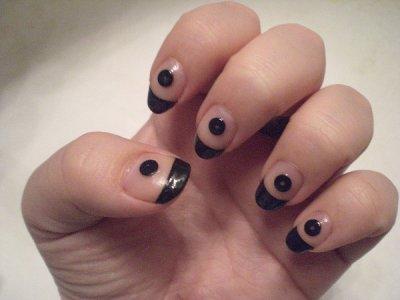 french manucure noir nail art debutant. Black Bedroom Furniture Sets. Home Design Ideas