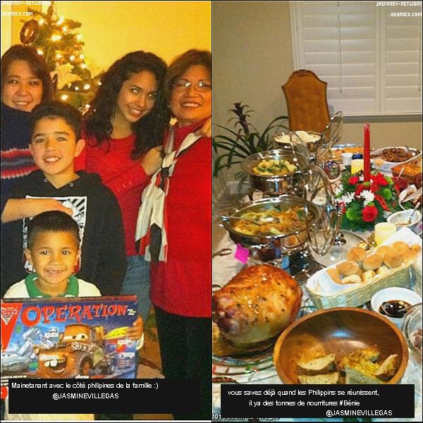 """24 Décembre : Jasmine à postée sur son compte YouTube  """" Just Jasmine épisode 18""""  Plus tard, elle à postée 2 photos sur son compte twitter où elle pose avec sa famille"""