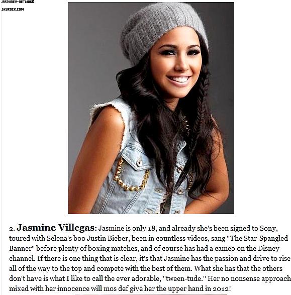 """02 Janvier 2012 : Jasmine apparait sur un article sur le net  """"Cinq filles Disney pour devenir la prochaine Selena Gomez en 2012"""" Elle est en 2e Place!"""