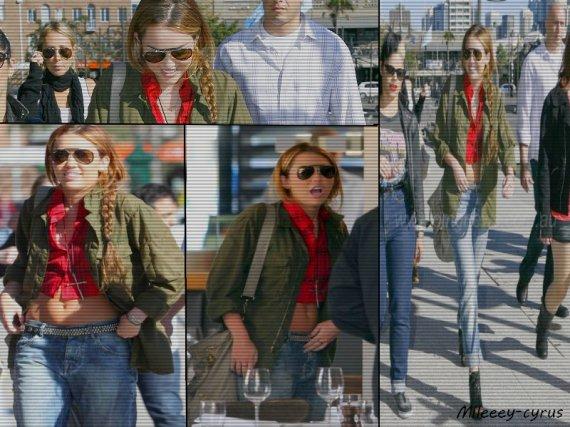 Photos : Miley avec sa mère Tish , et sa maquilleuse Denika sont allez déjeuner