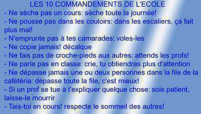 Les 10 commandements de l'école