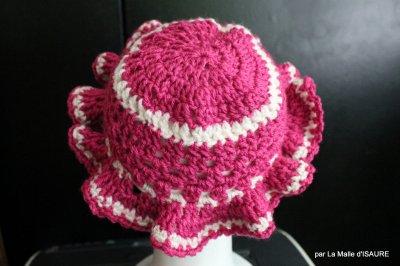 Chapeau bébé crocheté main Framboise et blanc