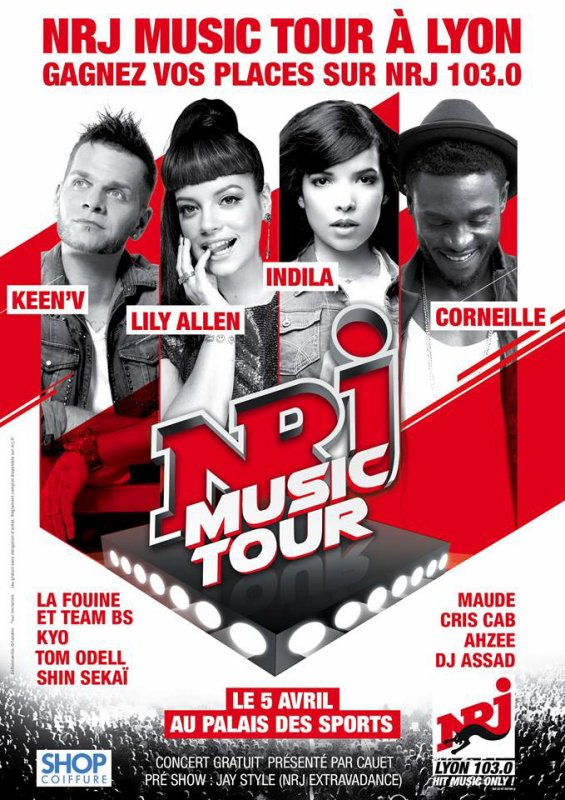L'affiche officiel NRJ MUSIC TOUR de Lyon  avec Keen'v et plein d'autre concert gratuit présente par Cauet