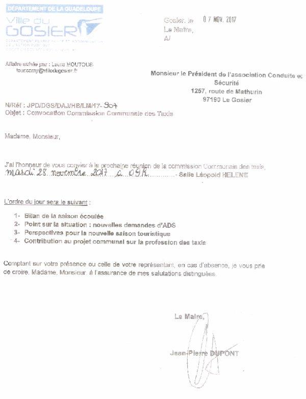 COMMISSION COMMUNALE DES TAXIS DU GOSIER, CONVOCATION ACS