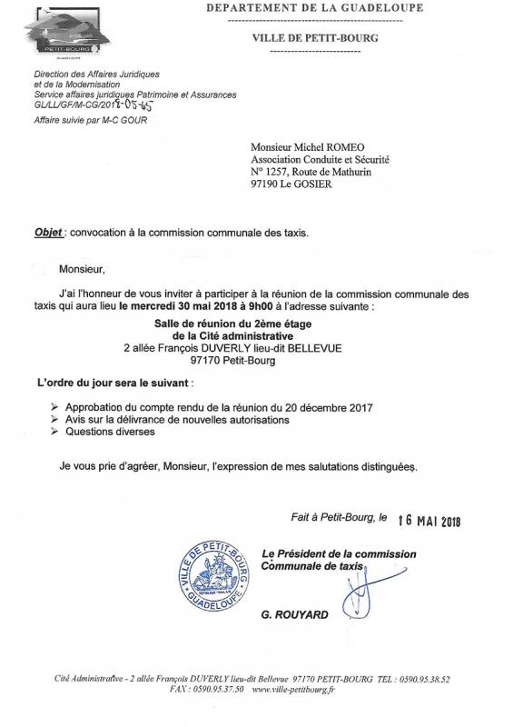 INVITATION A LA COMMISSION DES TAXIS DE LA VILLE DE PETIT BOURG
